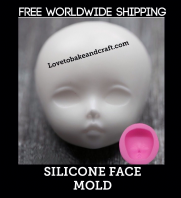 Doll face mold, Doll face mould, ooak face , ooak polymer, fimo, sculpey, Free shipping (3) (4)